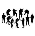 soldier silhouettes vector image vector image