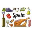 spain traditional food set vintage color vector image vector image