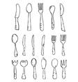 Spoon knife fork Hand drawn