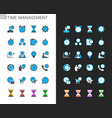 time management icons light and dark theme vector image vector image