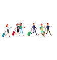 tourist man and woman running traveling people vector image