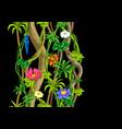 Twisted wild liana branch seamless pattern jungle