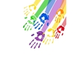 Vertical background with multicolored paint hands vector image