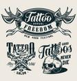 vintage tattoo salon monochrome prints vector image vector image