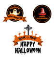 watercolor halloween logo designs vector image