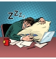 Worker dream workplace fatigue processing vector image vector image