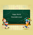 world teachers day with happy kids holding books vector image vector image