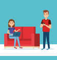 young couple in the sofa avatars characters vector image