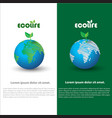 a earth and leaf logo combination planet and eco vector image