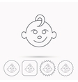 Baby boy face icon Child with smile sign vector image vector image
