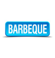 Barbeque blue 3d realistic square isolated button