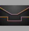 black abstract tech background with neon light vector image vector image