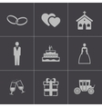 black wedding icons set vector image