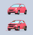 car crash flat traffic vector image vector image
