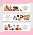 cartoon sweet products horizontal banners vector image vector image