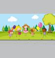 children celebration in park vector image vector image