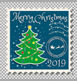 christmas tree on a postage stamp vector image