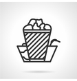 Cinema food black line icon vector image