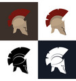 color and silhouette greek helmet vector image vector image