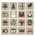 Colored square wedding icons vector image