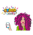 cyber monday cute woman pop art hold phone vector image