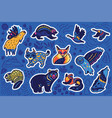 decorative canadian animal sticker set vector image vector image
