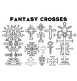 design set with fantasy crosses 4 vector image