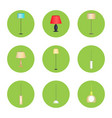 electricity lamps isolated in green circles set vector image vector image