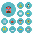 flat icons property home blueprint and other vector image