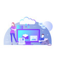 flat of cloud for all devices vector image vector image