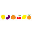 fruit berry vegetable food icon set line pepper vector image vector image