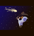 girl with a net catches a comet in the night sky vector image vector image