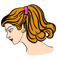 hand-drawn fashion model womans face vector image vector image
