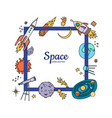 hand drawn space elements flying vector image vector image