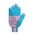 hand with circuits and cyberspace interface vector image vector image