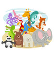 happy cartoon wild animal characters group vector image vector image