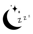icon sleep sign sleeping moon with stars vector image vector image