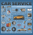 infographics of car service and diagnostics vector image vector image