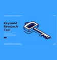 keyword research tool banner with isometric icon vector image vector image