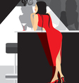 lady in red party in club vector image vector image