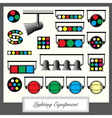 lighting equipment units and sympols set in vintag vector image vector image