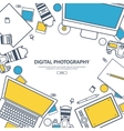 Line artPhotographer equipment on a table vector image vector image
