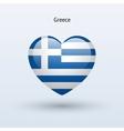 Love Greece symbol Heart flag icon vector image