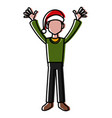man with santa claus christmas hat vector image vector image