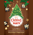 merry christmas party and tree on wooden vector image vector image