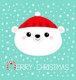 merry christmas polar white bear cub face round vector image vector image