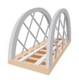 Metal railway bridge cartoon icon vector image