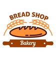 Natural organic bread icon with wheat rolling pin vector image vector image