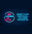 neon dry cleaning glowing sign with hanger in vector image