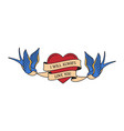 old school tattoo emblem label with swallow heart vector image vector image